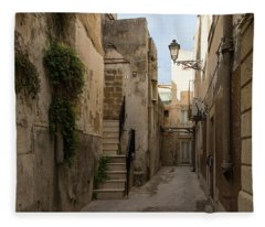 A Marble Staircase To Nowhere - Tiny Italian Lane In Syracuse Sicily Fleece Blanket