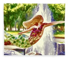 A Mermaid In A Norfolk Botanical Gardens 1 Fleece Blanket