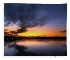 A Misty Sunset On Lake Lanier Fleece Blanket