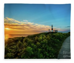 A Montauk Lighthouse Sunrise Fleece Blanket