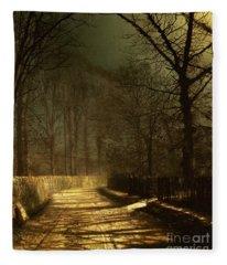 A Moonlit Lane Fleece Blanket