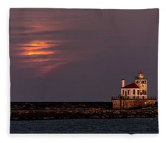 A Moonsetting Sunrise Fleece Blanket
