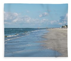 A Morning Walk On Fort Myers Beach Fort Myers Florida Fleece Blanket