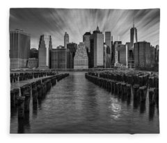 A New York City Day Begins Bw Fleece Blanket
