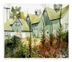 Watercolor Of An Old Wooden Barn Painted Green With Silo In The Sun Fleece Blanket