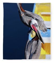 A Pair Of Brown Pelicans On A Blue And Yellow Rowboat Fleece Blanket