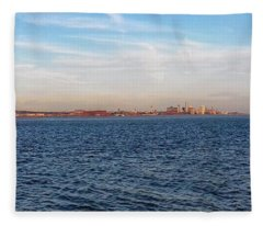A Panoramic View Of Liverpool's Skyline At New Brighton Fleece Blanket