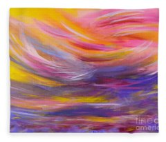 A Peaceful Heart - Abstract Painting Fleece Blanket