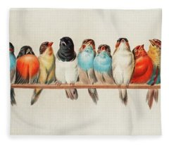 A Perch Of Birds, 1880 Fleece Blanket