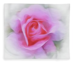 A Perfect Pink Rose Fleece Blanket
