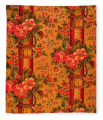 Peonies Roses And Bamboo Anglo Japonesque  1870s Victorian Tapestry Fleece Blanket