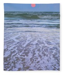 A Pink Moon Hdr Fleece Blanket