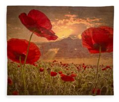 A Poppy Kind Of Morning Fleece Blanket