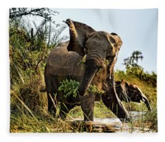 A Protective Mama Elephant With Calf  Fleece Blanket