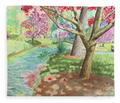 A Quiet Stroll In The Japanese Gardens Of Gibbs Gardens Fleece Blanket
