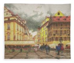 A Rainy Day In Prague Fleece Blanket