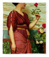 A Red Rose   Fleece Blanket