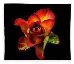 A Red Rose On Black Fleece Blanket
