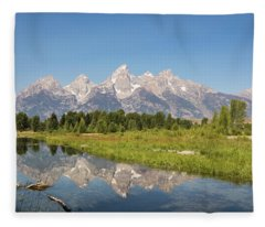 A Reflection Of The Tetons Fleece Blanket