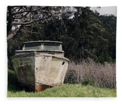 A Retired Old Fishing Boat On Dry Land In Bodega Bay Fleece Blanket