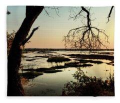 A River Sunset In Botswana Fleece Blanket