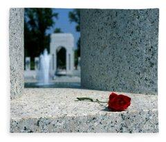 A Rose Memento At The World War II Memorial In Washington Dc Fleece Blanket