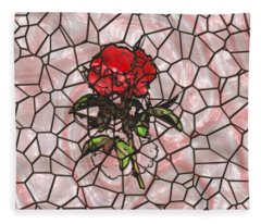 A Rose On Stained Glass Fleece Blanket