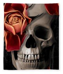 A Rose On The Skull Fleece Blanket