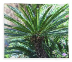 A Shady Palm Tree Fleece Blanket