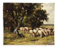 A Shepherd And His Flock Fleece Blanket