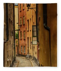 A Side Street In Stockholm Fleece Blanket