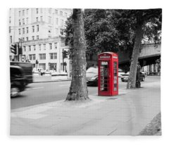 A Single Red Telephone Box On The Street Bw Fleece Blanket