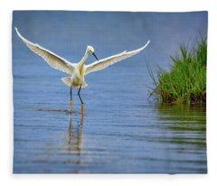 A Snowy Egret Dip-fishing Fleece Blanket