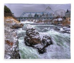 A Spokane Falls Winter Fleece Blanket