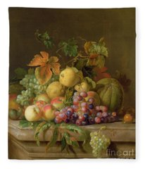 A Still Life Of Melons Grapes And Peaches On A Ledge Fleece Blanket