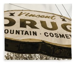 A Store For Everyone - Vintage Pharmacy Sign Fleece Blanket