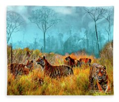 A Streak Of Tigers Fleece Blanket