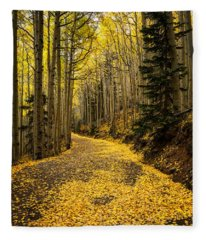A Stroll Among The Golden Aspens  Fleece Blanket
