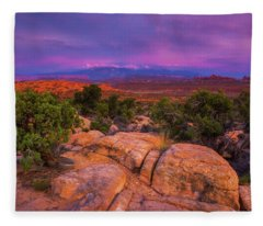 A Sunset Over Arches Fleece Blanket