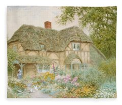 Thatched Roof Paintings Fleece Blankets