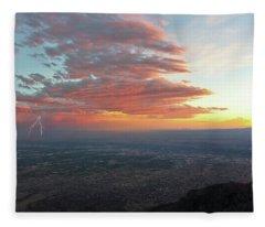 A Thunderstorm At Sunset Over Albuquerque, New Mexico Fleece Blanket