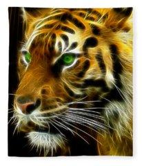 A Tiger's Stare Fleece Blanket
