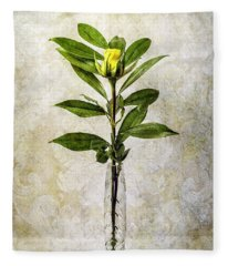 A Touch Of Yellow - Rose Bud Fleece Blanket