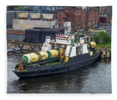 Fleece Blanket featuring the photograph A Train Ferry In St Petersburg Carrying Freight by Clare Bambers