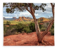 A Tree In Sedona Fleece Blanket