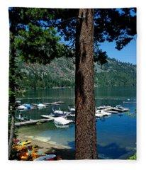 A Trees View Of Fallen Leaf Lake Fleece Blanket