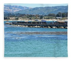 A Tropical Day At The Monterey Coast Guard Pier Fleece Blanket