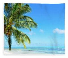 A Tropical Palm Tree Beach Fleece Blanket