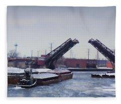 A Tug Boat Pushing A Barge Out To The Lake Fleece Blanket