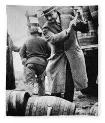 A Us Federal Agent Broaching A Beer Barrel From An Illegal Cargo During The American Prohibition Era Fleece Blanket